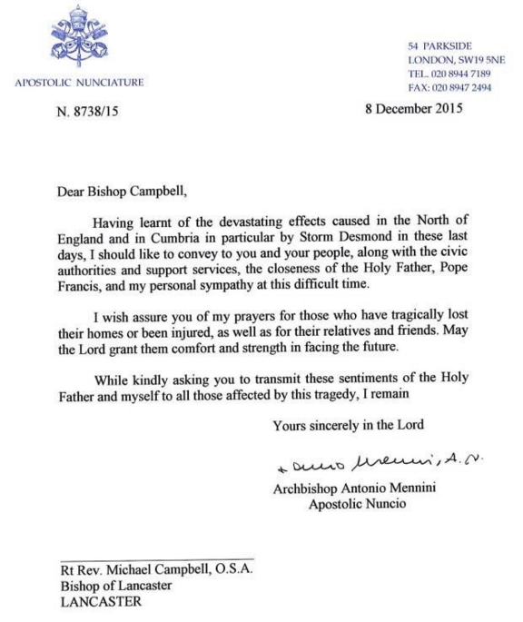 pope francis sends letter of sympathy to flooding victims
